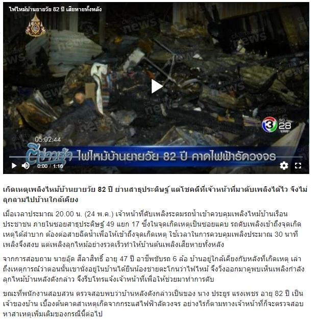 ไฟไหม้บ้านหลังนี้ เมื่อตรวจสอบพบว่าเป็นบ้านของคุณยายวัย 82 ปี ท่านหนึ่ง แต่ขณะเกิดเพลิงไหม้คุณยายไม่ได้อยู่ในบ้านหลังนี้ด้วย